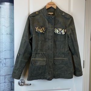 Democracy camouflage sequin utility jacket